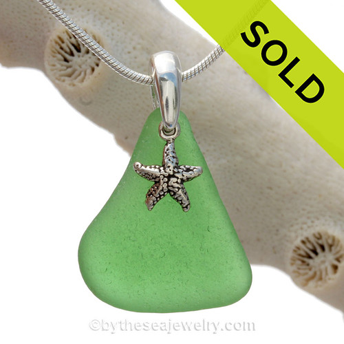 Perfect Green Sea Glass Necklace set on a solid sterling cast bail with a sterling silver Starfish charm.