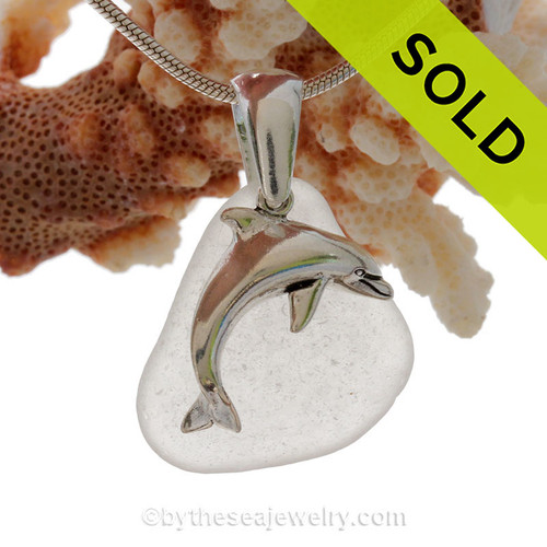 """Large Jumping Dolphin Sterling Silver Necklace with Pure White Sea Glass - 18"""" STERLING CHAIN INCLUDED."""