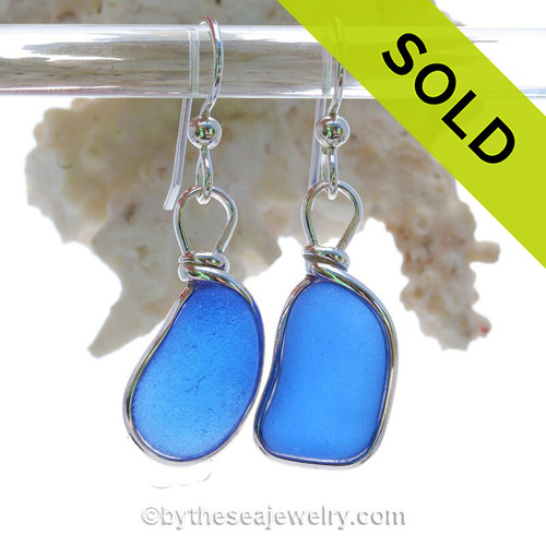 Vivid Thick Bright  Blue Sterling English Sea Glass Earrings In Sterling Original Wire Bezel©