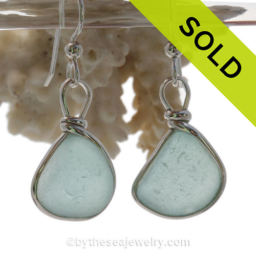 PERFECT Pale Aqua Blue Beach Found Sea Glass Earrings In Solid Sterling Silver Original Wire Bezel©