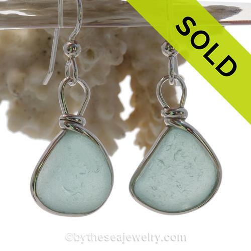 PERFECT Pale Aqua Blue Beach Found Sea Glass Earrings In Solid Sterling Silver Original Wire Bezel©