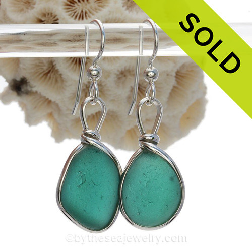 P-E-R-F-E-C-T Sea Glass Earrings in a Vivid Deep Teal Green set in our Original Wire Bezel© setting in silver.