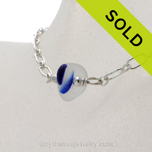 Stunning Electric Cobalt Blue Sea Glass Necklace on All Solid Sterling Silver - 18""