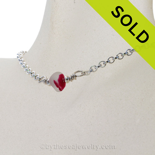 Simply Sea Glass - Magenta or Hot Pink Mixed Sea Glass Necklace on All Solid Sterling Silver