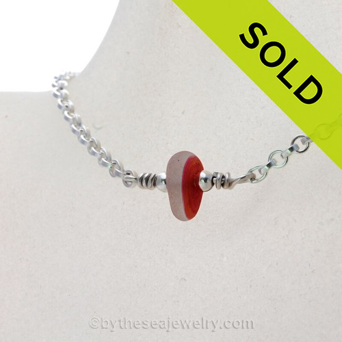 Simply Sea Glass - Magenta or Hot Pink and Orange mixed Sea Glass Necklace on All Solid Sterling Silver - 18""