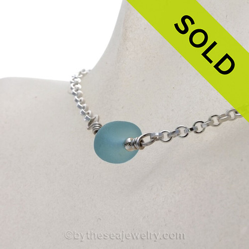Simply Sea Glass - Robins Egg Blue Sea Glass Choker Necklace on All Solid Sterling Silver - 18""