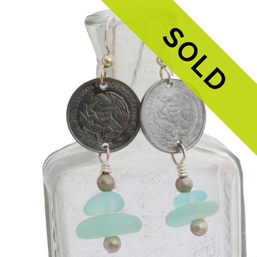 Sorry this pair of sea glass earrings with genuine Mexican coins have been sold!