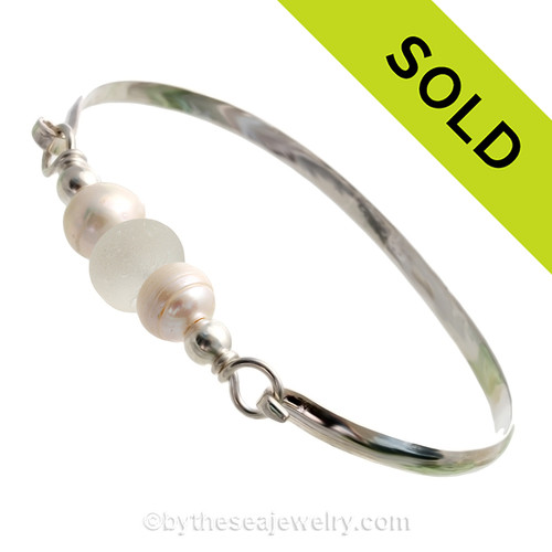 Perfect Pure White English Sea Glass combined with real cultured pearls on this Solid Sterling Silver Full round Sea Glass Bangle Bracelet.