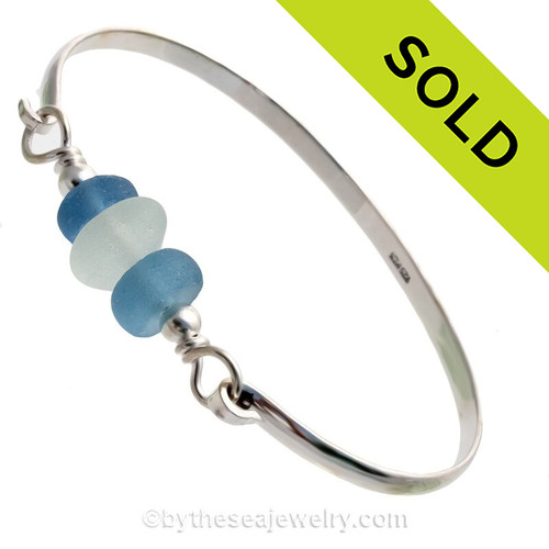 Pure White Genuine Sea Glass and Bright Carolina Blue Recycled Glass Beads on this Solid Sterling Half Round Bangle Bracelet.