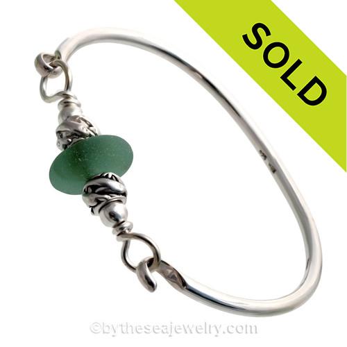 Mixed Aqua Green Sea Glass W/ Swimming Dolphin Beads Premium Bangle Bracelet