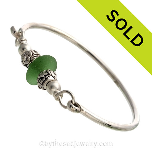 Vivid Spring Green Sea Glass Sterling Bangle Bracelet W/ Sterling Sea Life Beads. SOLD - Sorry this Sea Glass Jewelry selection is NO LONGER AVAILABLE!