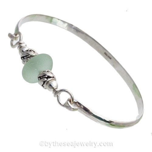 Fresh Perfect Sea Green Sea Glass Sterling Bangle Bracelet W/ Dolphin Beads
