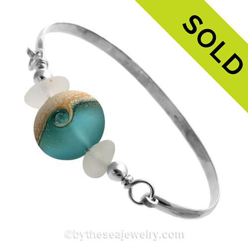 Genuine Pure White Perfect Sea Glass Bangle set with a handmade lamp work glass wave bead with sterling end beads on a Solid Sterling half round Bangle Bracelet. SOLD - Sorry this Sea Glass Jewelry selection is NO LONGER AVAILABLE!