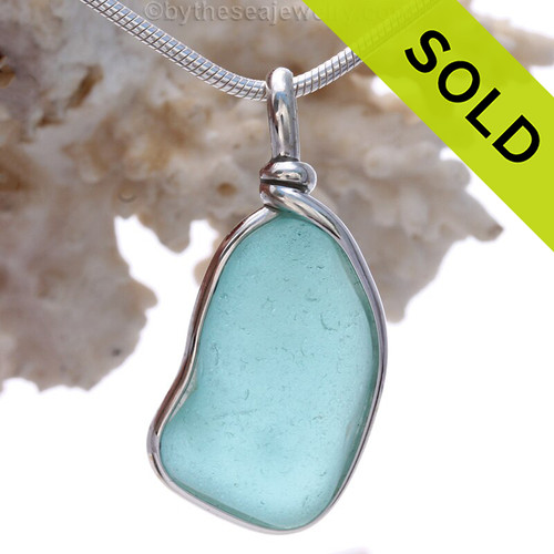 Aquamarine Genuine Sea Glass Original Wire Bezel© Pendant in Sterling Silver