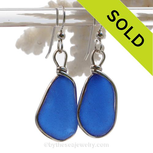 Larger Rich Cobalt  Blue Sterling English Sea Glass Earrings In Sterling Original Wire Bezel©