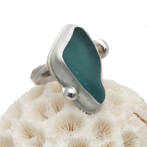 Fine set sea glass ring from customer supplied glass.