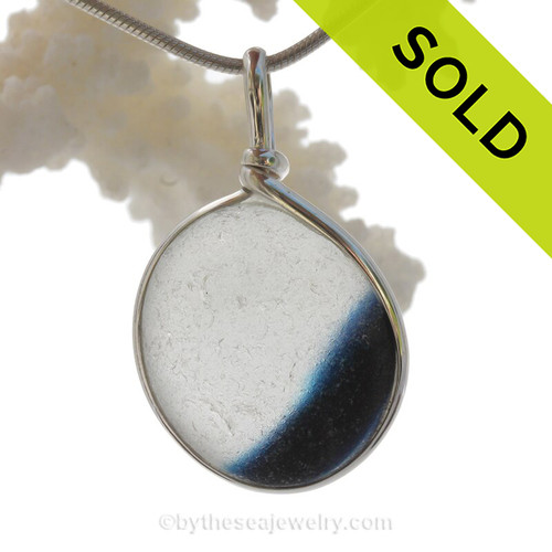 A Lovely shaped Mixed Midnight Blue Seaham multi sea glass set in Sold Sterling Silver Deluxe Wire Bezel© pendant setting. SOLD - Sorry this Sea Glass Jewelry selection is NO LONGER AVAILABLE!