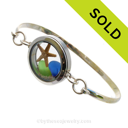 Simply stunning sea glass locket bangle bracelet in silver