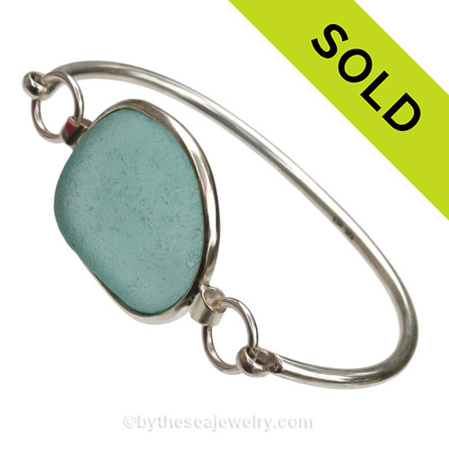 VERY Large Aqua Blue Sea Glass Bangle Bracelet set in our Premium Deluxe Wire Bezel© Solid Sterling Silver
