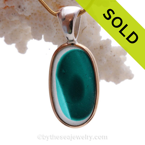 Mixed Electric Aqua Teal Hartley Wood Art Sea Glass Pendant In Deluxe Wire Bezel Setting©