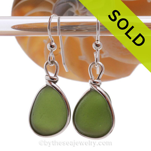 Genuine beach found Bright Jungle Green Sea Glass Earrings in a Solid Sterling Silver Original Wire Bezel© setting.