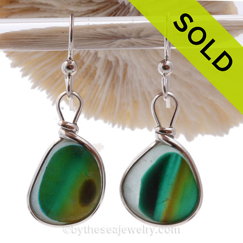 Super Ultra Rare Mixed Green & Gold Seaham Sea Glass Earrings set in our Original Wire Bezel© setting in Solid Sterling Silver.