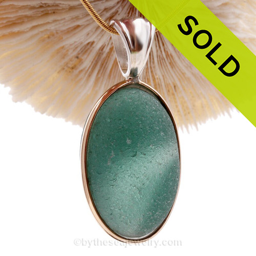 HUGE ULTRA RARE Tropical Aqua Green Multi Sea Glass Pendant In Deluxe Wire Bezel Setting©