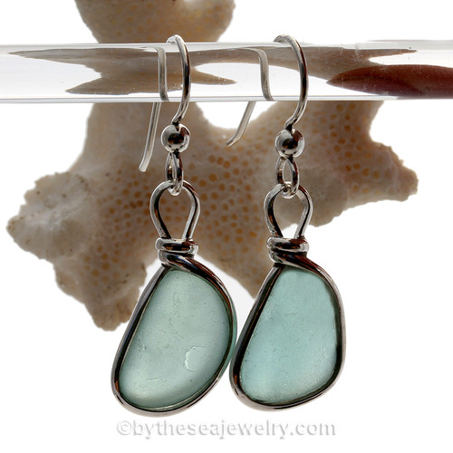Thick Perfect Aqua Blue Beach Found Sea Glass Earrings In Solid Sterling Silver Original Wire Bezel©