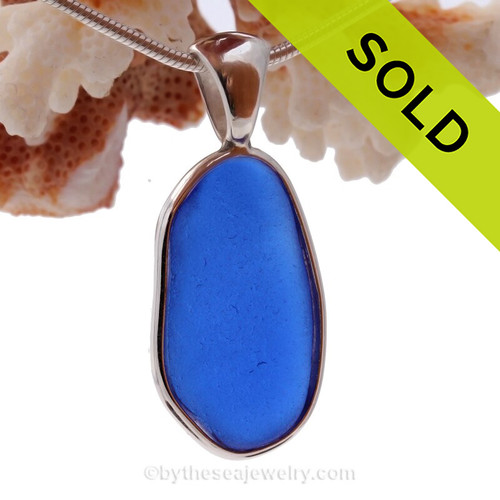 A great  Cobalt Blue Sea Glass set in our Deluxe Wire Bezel setting in Solid Sterling Silver.