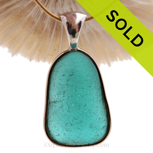 INTENSE  Vivid Aqua Blue Sea Glass Pendant In Tiffany Deluxe Wire Bezel Setting©