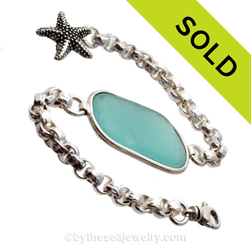 Long Large Vivid Aqua Sea Glass ID Bracelet set in our Premium Deluxe Wire Bezel© Solid Sterling Silver