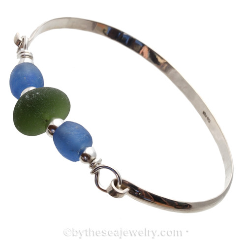Seaweed Green Genuine Sea Glass and Bright Blue Recycled Glass Beads on this Solid Sterling Half Round Bangle Bracelet.