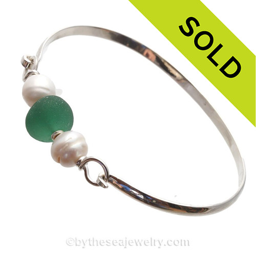 PERFECT Aqua  Green Genuine Sea Glass and Real Fresh Water Pearls on this Solid Sterling Half Round Bangle Bracelet. SOLD - Sorry this Sea Glass Jewelry selection is NO LONGER AVAILABLE!