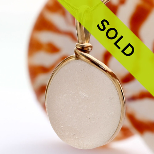 Large Pure White English Victorian Sea Glass In Gold Wire Bezel ©