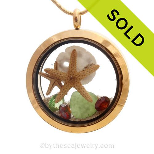 Golden Holidays - Genuine Sea Glass Locket Necklace W/ Real Starfish, Sandollar, Beach Sand & Crystals