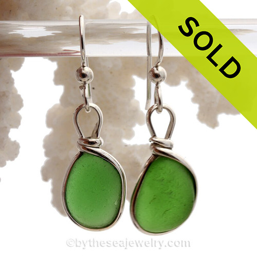Petite Smaller Vivid Green Genuine Sea Glass Earrings In Sterling Silver Original Wire Bezel©