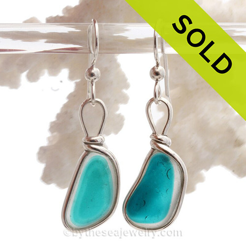 AMAZING Electric Aqua Green Multi Sea Glass Earrings set in our Original Wire Bezel© setting in Solid Sterling Silver.