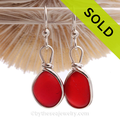 PERFECT Fire Red Genuine English Sea Glass Earrings In Solid Sterling Silver Original Wire Bezel©