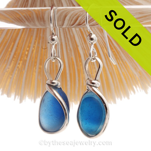 Petite Ultra Rare Blue Aqua Mixed Sea Glass Earrings set in our Original Wire Bezel© setting in silver.