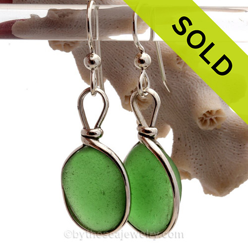 Vivid Green Genuine Sea Glass Earrings In Sterling Silver Original Wire Bezel©