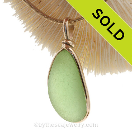 LARGE and THICK Yellowy Sea Green Genuine Sea Glass Pendant In Gold Wire Bezel© Pendant This is the EXACT Sea Glass Pendant that you will receive!