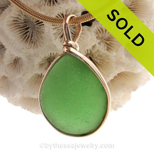 Perfect Bright Green Genuine Sea Glass Pendant In Gold Original Wire Bezel© Pendant