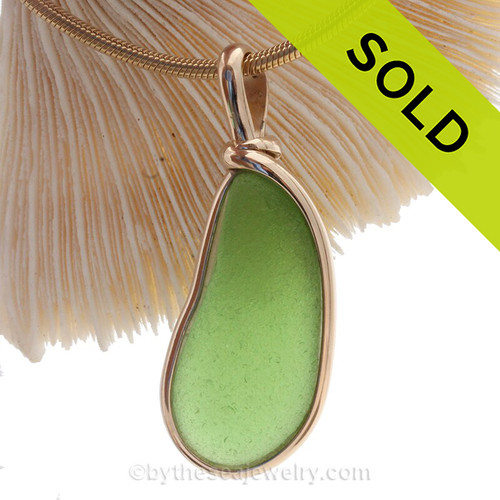 Long Natural Green Genuine Sea Glass Pendant In Gold Original Wire Bezel© Pendant