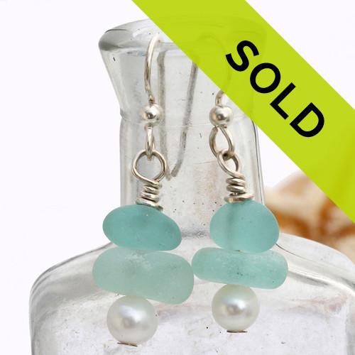 Pale & Deep Aqua Sea Glass Earrings On Sterling W/ Pearls
