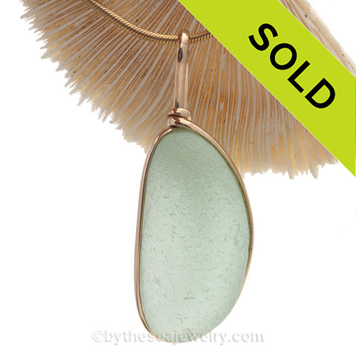 VERY VERY Large and Long Seafoam Green natural sea glass piece set in our Original Wire Bezel setting in 14K Rolled Gold setting.