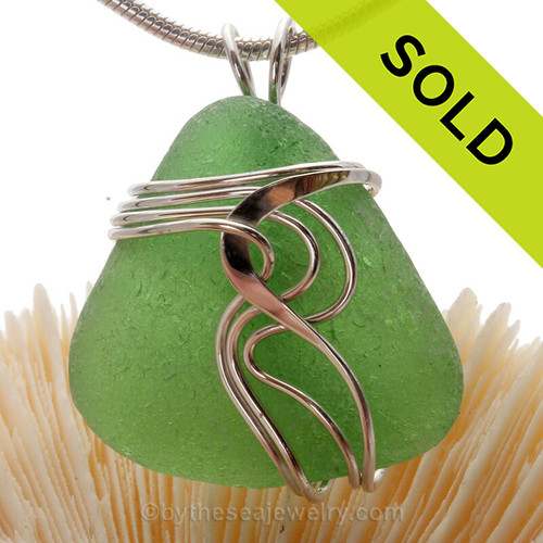 Natural Triangle of Green Genuine Sea Glass Sterling Waves© Signature Sterling Setting Pendant