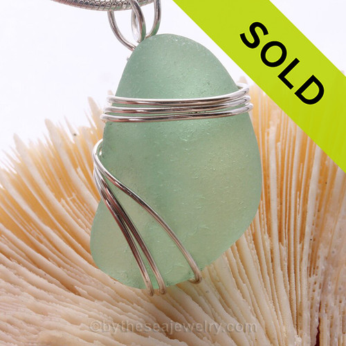 Thick Perfect Seafoam Green Sea glass Pendant set in our triple sterling silver setting.