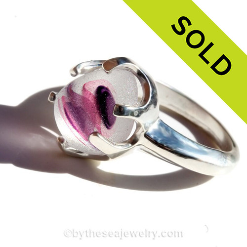Girl Swirls - Natural UNALTERED Mixed Pink and Purple Genuine Sea Glass Ring In Sterling - Size 7 (Re-Sizeable)