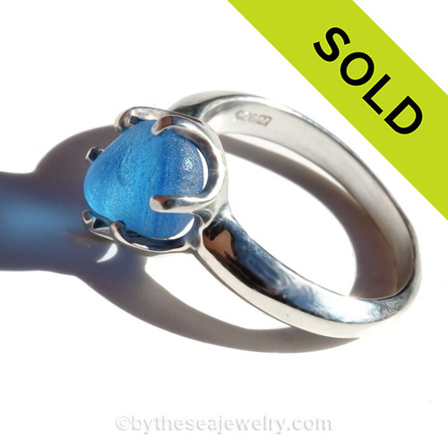 Medium Blue Mixed English Multie Sea Glass Ring in Solid Sterling Silver (as seen in natural sunlight).