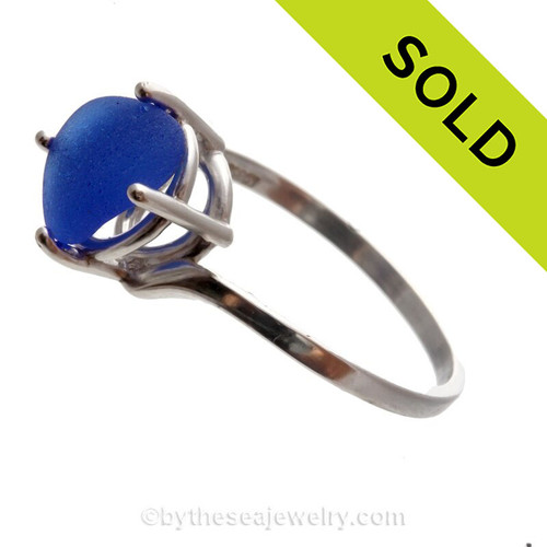 Lovely Bright Cobalt Blue Sea Glass In Sterling Ring
